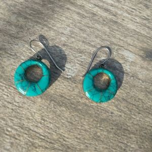 turquoise stone silver earrings